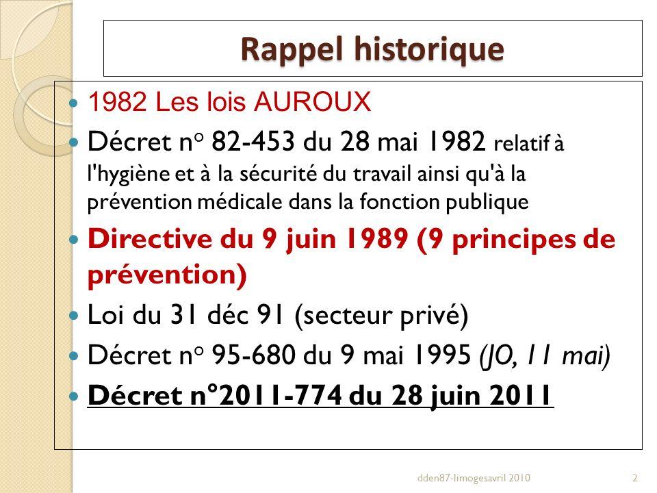 Rappel historique 1982 Les lois AUROUX Décret n o 82-453 du 28 mai 1982 relatif à l'hygiène et à la sécurité du travail ainsi qu'à la prévention médic