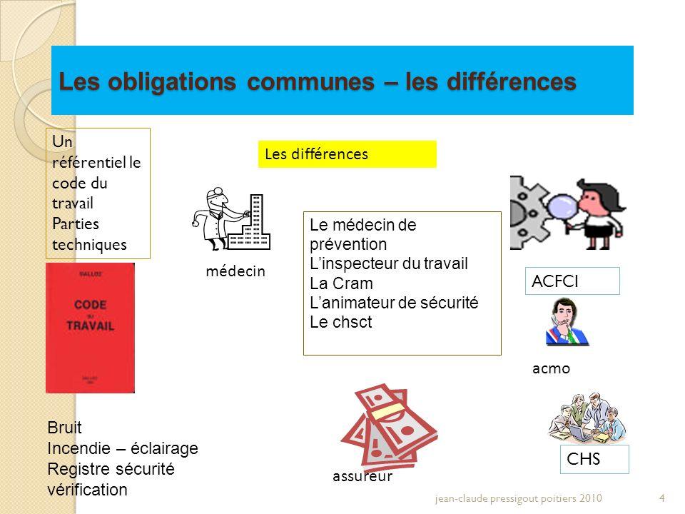 Les obligations communes – les différences jean-claude pressigout poitiers 20104 Un référentiel le code du travail Parties techniques Les différences