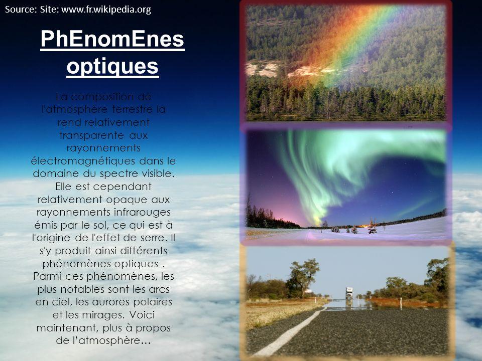 PhEnomEnes optiques La composition de l'atmosphère terrestre la rend relativement transparente aux rayonnements électromagnétiques dans le domaine du
