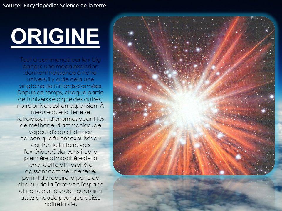 ORIGINE Tout a commencé par le « big bang »; une méga explosion donnant naissance à notre univers, il y a de cela une vingtaine de milliards d'années.