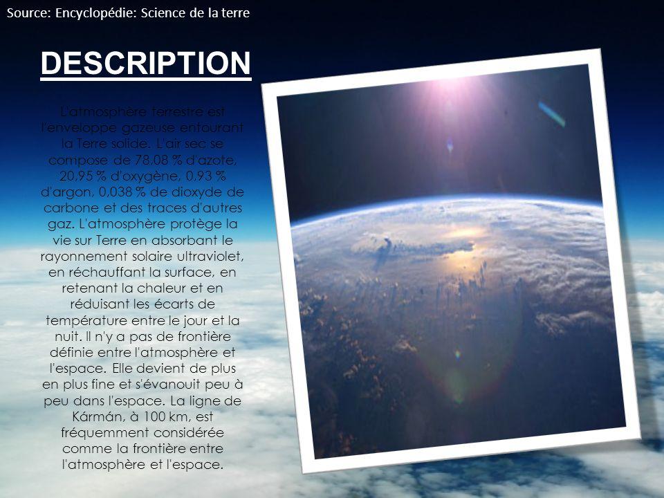 DESCRIPTION L'atmosphère terrestre est l'enveloppe gazeuse entourant la Terre solide. L'air sec se compose de 78,08 % d'azote, 20,95 % d'oxygène, 0,93