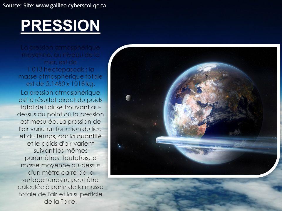 PRESSION La pression atmosphérique moyenne, au niveau de la mer, est de 1 013 hectopascals ; la masse atmosphérique totale est de 5,1480 x 1018 kg. La