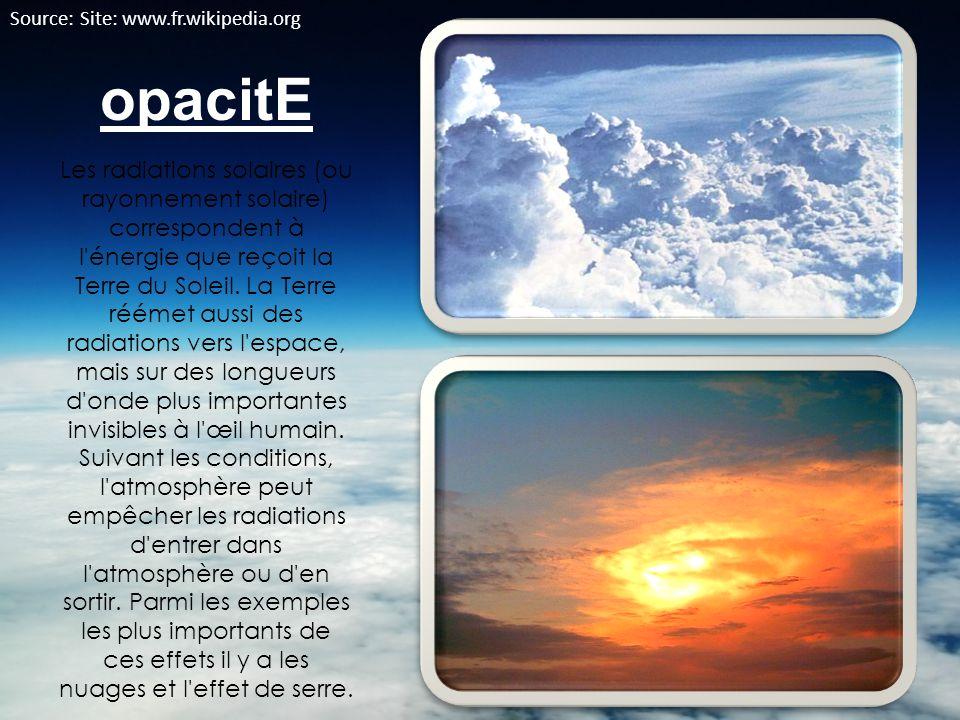 opacitE Les radiations solaires (ou rayonnement solaire) correspondent à l'énergie que reçoit la Terre du Soleil. La Terre réémet aussi des radiations