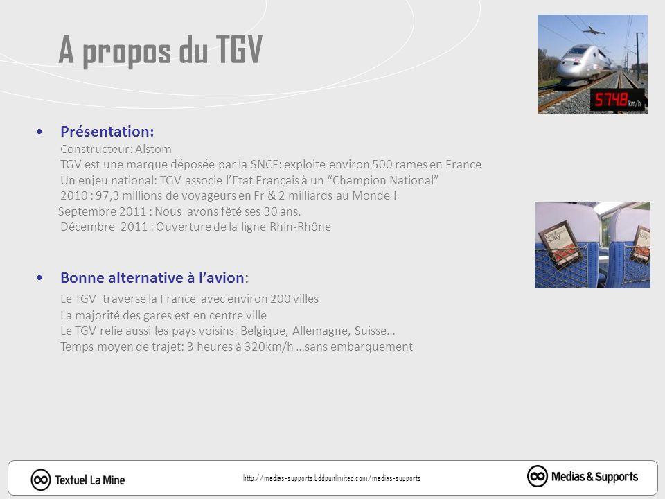 Présentation: Constructeur: Alstom TGV est une marque déposée par la SNCF: exploite environ 500 rames en France Un enjeu national: TGV associe lEtat Français à un Champion National 2010 : 97,3 millions de voyageurs en Fr & 2 milliards au Monde .