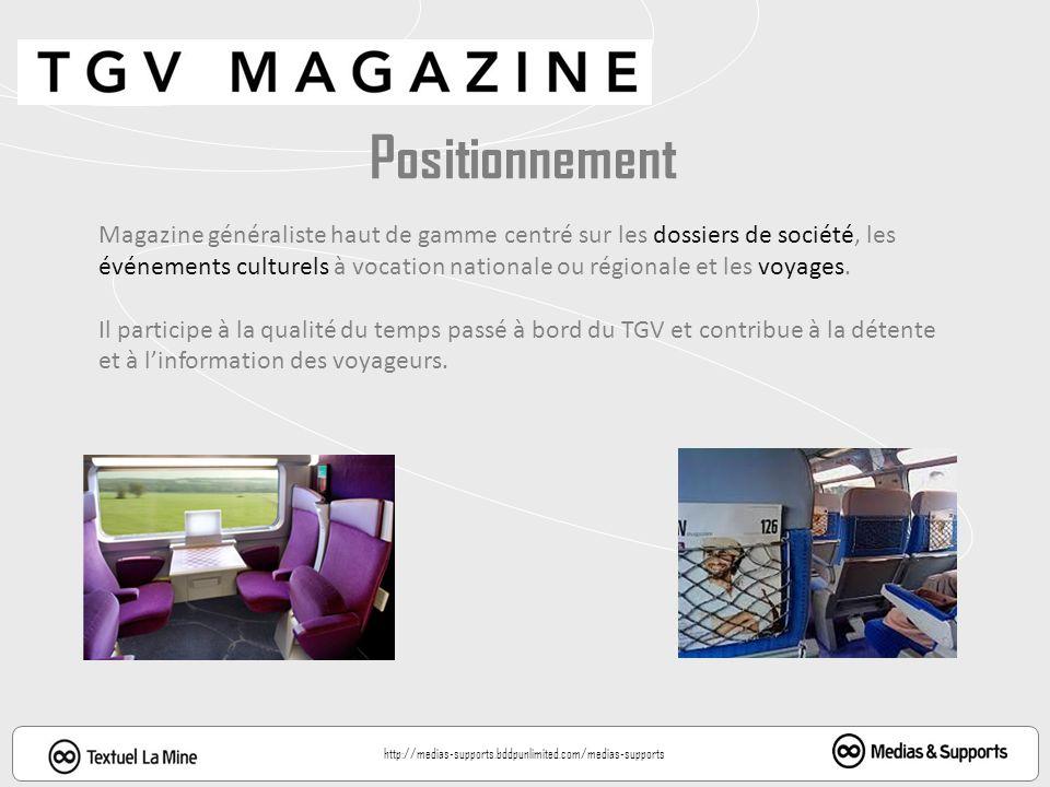 Diffusion: 294 150 ex / mois (OJD 2011) Trafic annuel : 97,3 millions voyageurs Forte affinité: 86% des voyageurs, apprécient TGV Magazine (source Sncf) Audience ONE: 1 126 000 lecteurs (oct 2012) +10,9 % vs mars 2012 69,6% http://medias-supports.bddpunlimited.com/medias-supports 18,1%
