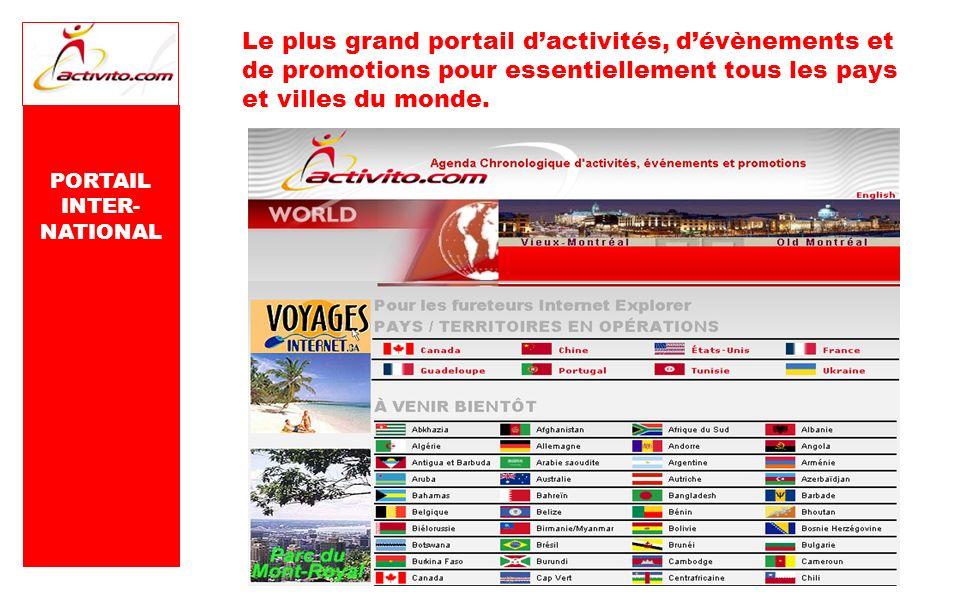 Le plus grand portail dactivités, dévènements et de promotions pour essentiellement tous les pays et villes du monde. PORTAIL INTER- NATIONAL