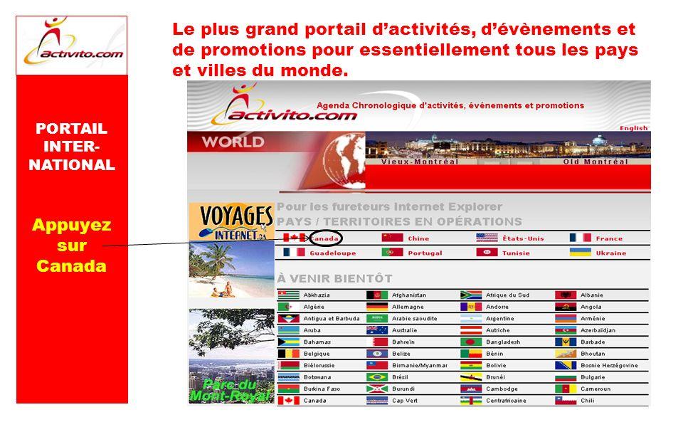Le plus grand portail dactivités, dévènements et de promotions pour essentiellement tous les pays et villes du monde. PORTAIL INTER- NATIONAL Appuyez