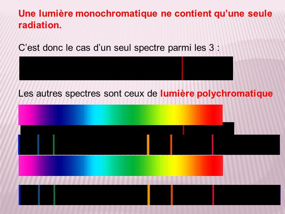 Une lumière monochromatique ne contient quune seule radiation.