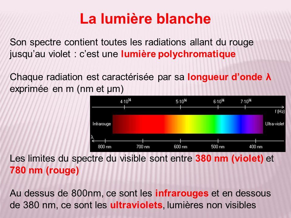 La lumière blanche Son spectre contient toutes les radiations allant du rouge jusquau violet : cest une lumière polychromatique Chaque radiation est caractérisée par sa longueur donde λ exprimée en m (nm et μm) Les limites du spectre du visible sont entre 380 nm (violet) et 780 nm (rouge) Au dessus de 800nm, ce sont les infrarouges et en dessous de 380 nm, ce sont les ultraviolets, lumières non visibles