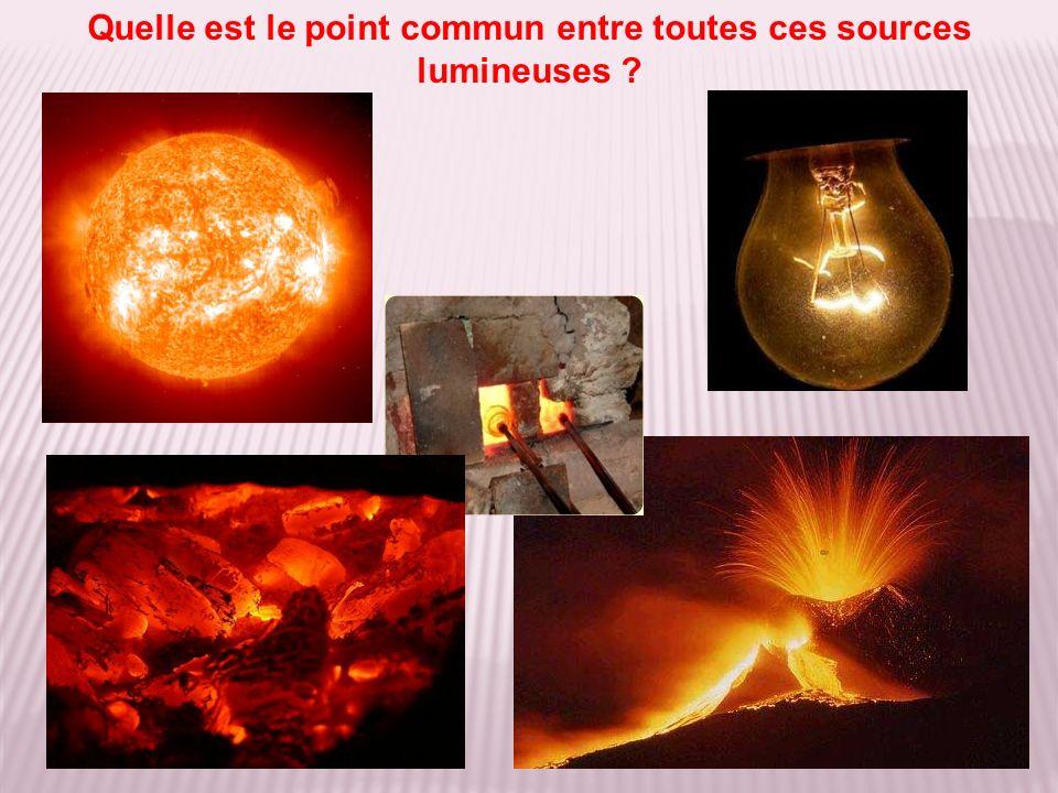 Source incandescente Tous ces corps émettent de la lumière parce quils sont portés à haute température.