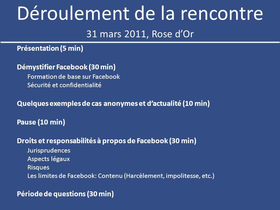 Déroulement de la rencontre Présentation (5 min) Démystifier Facebook (30 min) Formation de base sur Facebook Sécurité et confidentialité Quelques exemples de cas anonymes et dactualité (10 min) Pause (10 min) Droits et responsabilités à propos de Facebook (30 min) Jurisprudences Aspects légaux Risques Les limites de Facebook: Contenu (Harcèlement, impolitesse, etc.) Période de questions (30 min) 31 mars 2011, Rose dOr