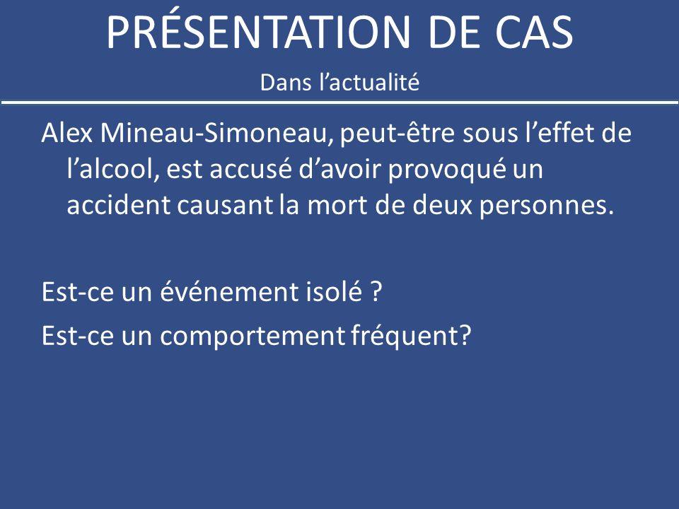 PRÉSENTATION DE CAS Alex Mineau-Simoneau, peut-être sous leffet de lalcool, est accusé davoir provoqué un accident causant la mort de deux personnes.