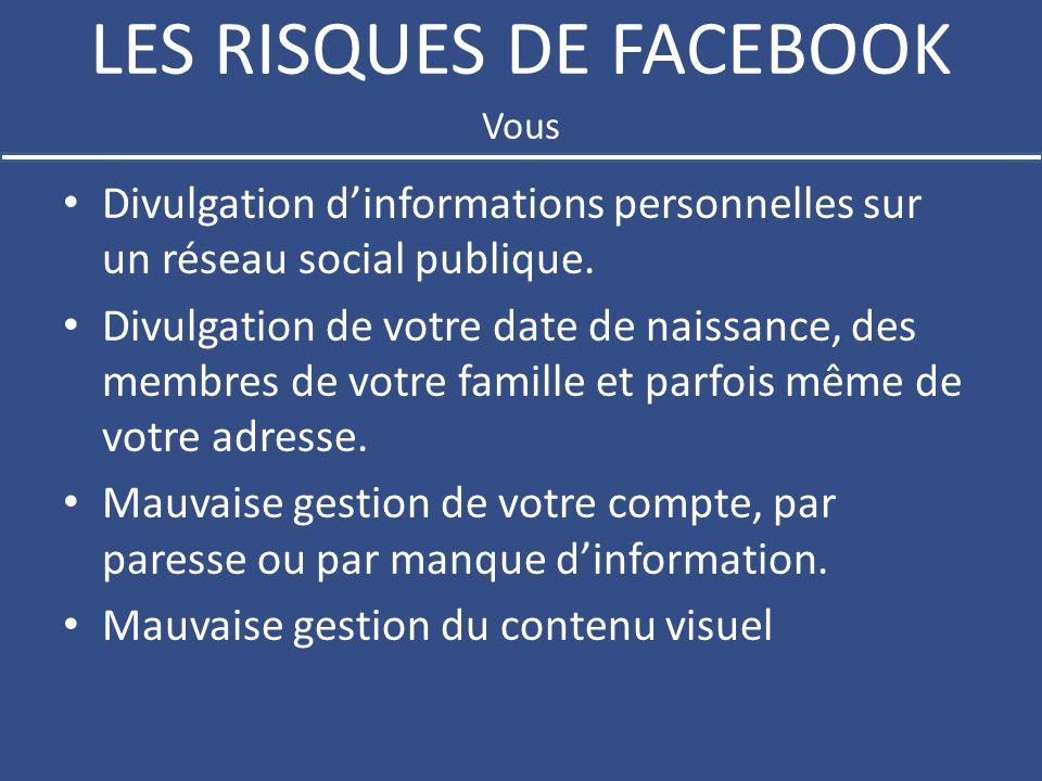 LES RISQUES DE FACEBOOK Divulgation dinformations personnelles sur un réseau social publique.