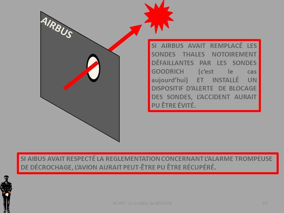 AF 447. Le modèle de REASON10 AIRBUS SI AIRBUS AVAIT REMPLACÉ LES SONDES THALES NOTOIREMENT DÉFAILLANTES PAR LES SONDES GOODRICH (cest le cas aujourdh