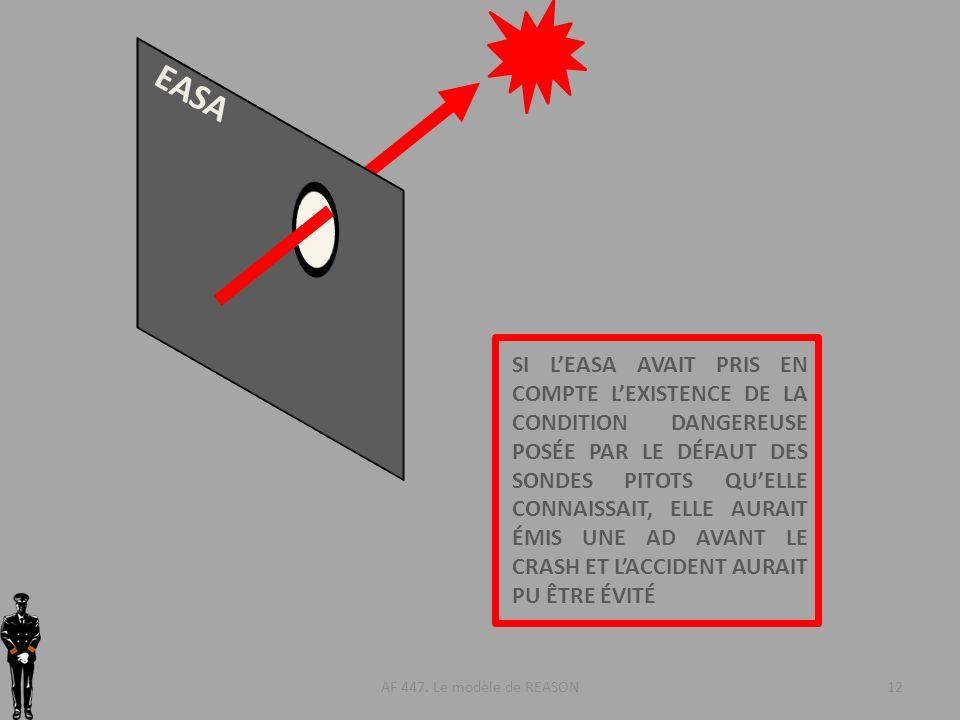 AF 447. Le modèle de REASON12 EASA SI LEASA AVAIT PRIS EN COMPTE LEXISTENCE DE LA CONDITION DANGEREUSE POSÉE PAR LE DÉFAUT DES SONDES PITOTS QUELLE CO