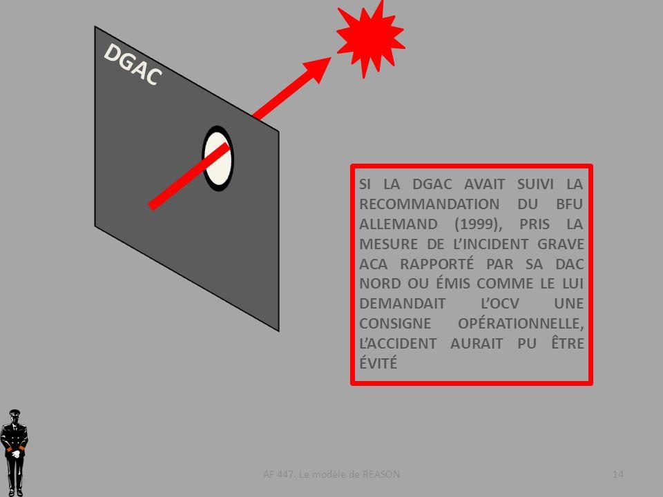 AF 447. Le modèle de REASON14 DGAC SI LA DGAC AVAIT SUIVI LA RECOMMANDATION DU BFU ALLEMAND (1999), PRIS LA MESURE DE LINCIDENT GRAVE ACA RAPPORTÉ PAR