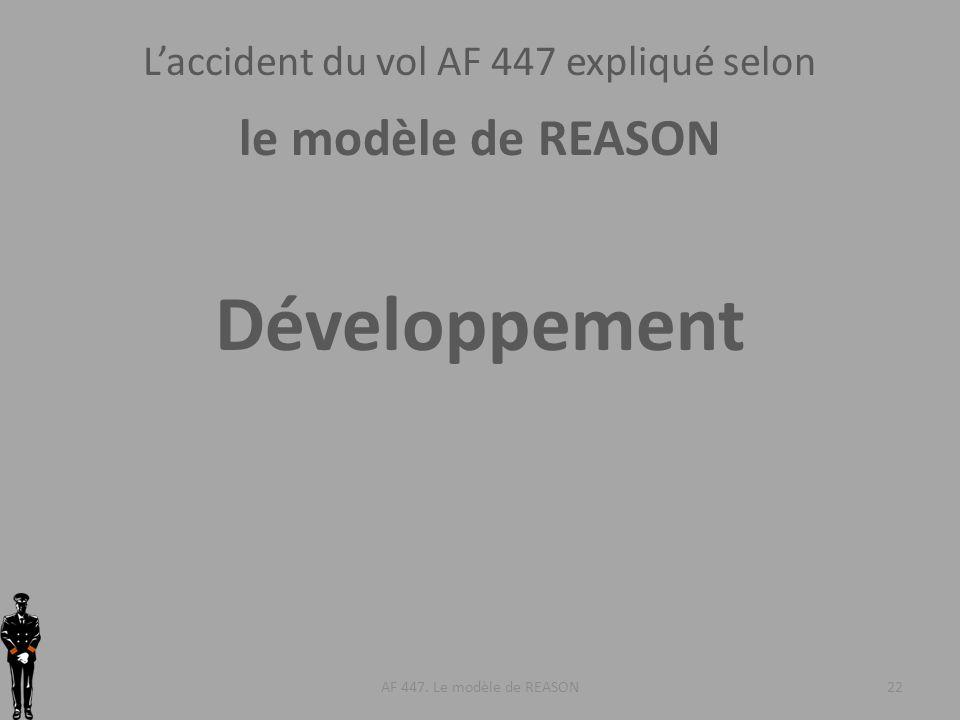 AF 447. Le modèle de REASON22 Développement Laccident du vol AF 447 expliqué selon le modèle de REASON