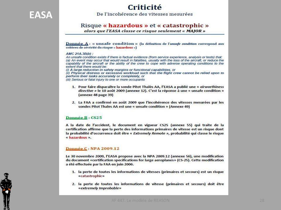 AF 447. Le modèle de REASON28 EASA