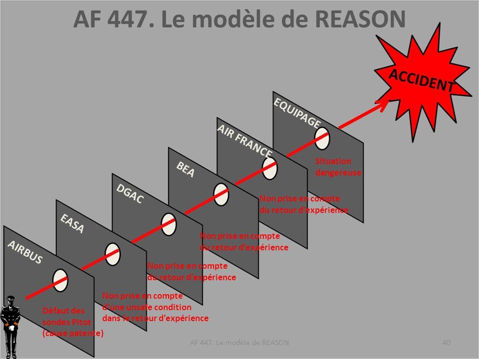 AIRBUS EASA DGAC BEA AIR FRANCE EQUIPAGE Défaut des sondes Pitot (cause patente) Non prise en compte dune unsafe condition dans le retour dexpérience