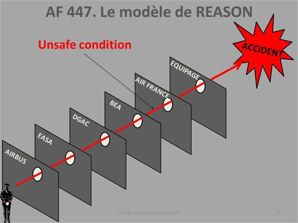 AIRBUS EASA DGAC BEA AIR FRANCE EQUIPAGE Défaut des sondes Pitot (cause patente) Non prise en compte dune unsafe condition dans le retour dexpérience Non prise en compte du retour dexpérience Non prise en compte du retour dexpérience Non prise en compte du retour dexpérience Unsafe condition AF 447.