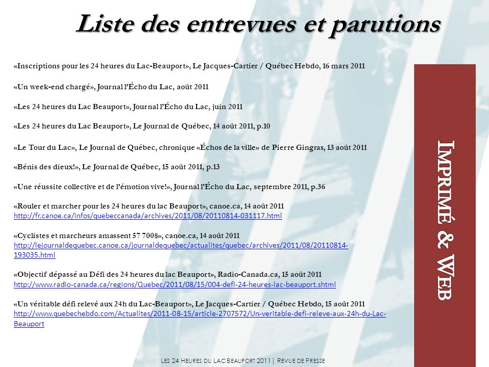 L ES 24 H EURES DU L AC B EAUPORT 2011| R EVUE DE P RESSE «Inscriptions pour les 24 heures du Lac-Beauport», Le Jacques-Cartier / Québec Hebdo, 16 mar