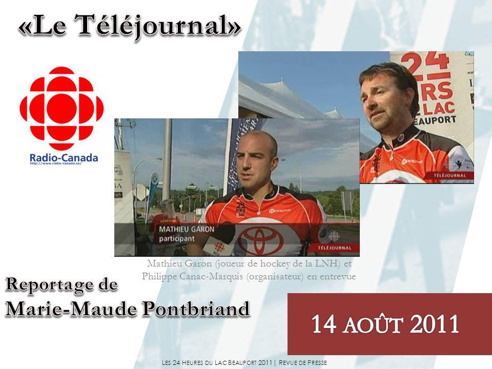 Mathieu Garon (joueur de hockey de la LNH) et Philippe Canac-Marquis (organisateur) en entrevue