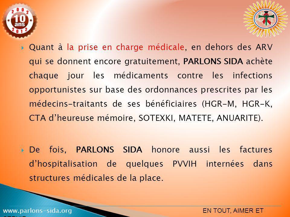 Quant à la prise en charge médicale, en dehors des ARV qui se donnent encore gratuitement, PARLONS SIDA achète chaque jour les médicaments contre les