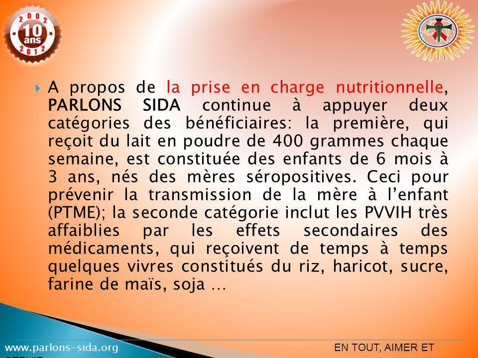 A propos de la prise en charge nutritionnelle, PARLONS SIDA continue à appuyer deux catégories des bénéficiaires: la première, qui reçoit du lait en p