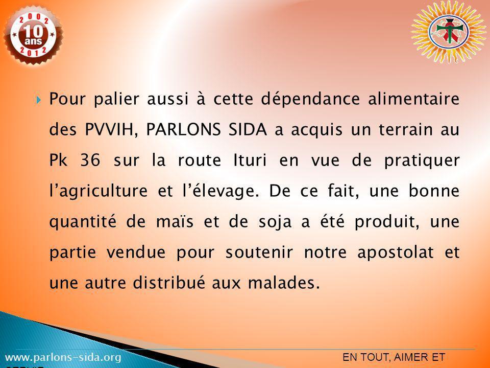 Pour palier aussi à cette dépendance alimentaire des PVVIH, PARLONS SIDA a acquis un terrain au Pk 36 sur la route Ituri en vue de pratiquer lagricult
