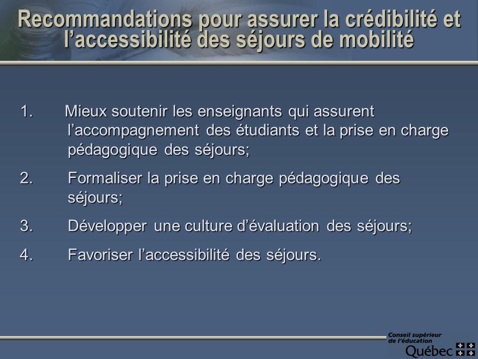 Recommandations pour assurer la crédibilité et laccessibilité des séjours de mobilité 1.Mieux soutenir les enseignants qui assurent laccompagnement de