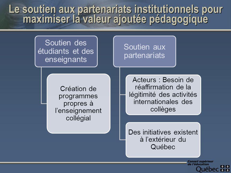 Le soutien aux partenariats institutionnels pour maximiser la valeur ajoutée pédagogique