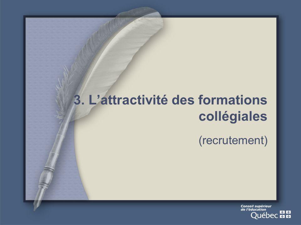 3. Lattractivité des formations collégiales (recrutement)