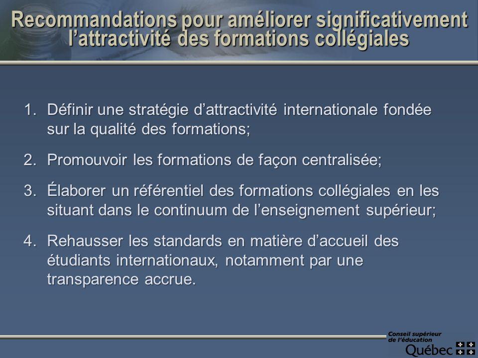 1.Définir une stratégie dattractivité internationale fondée sur la qualité des formations; 2.Promouvoir les formations de façon centralisée; 3.Élabore