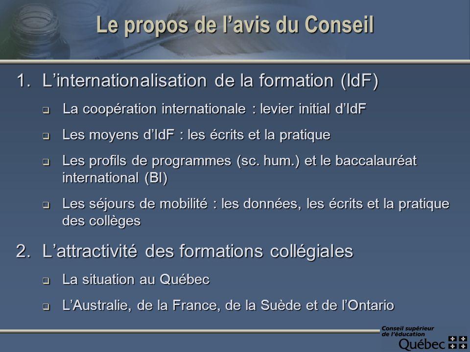 Le propos de lavis du Conseil 1.Linternationalisation de la formation (IdF) La coopération internationale : levier initial dIdF La coopération interna