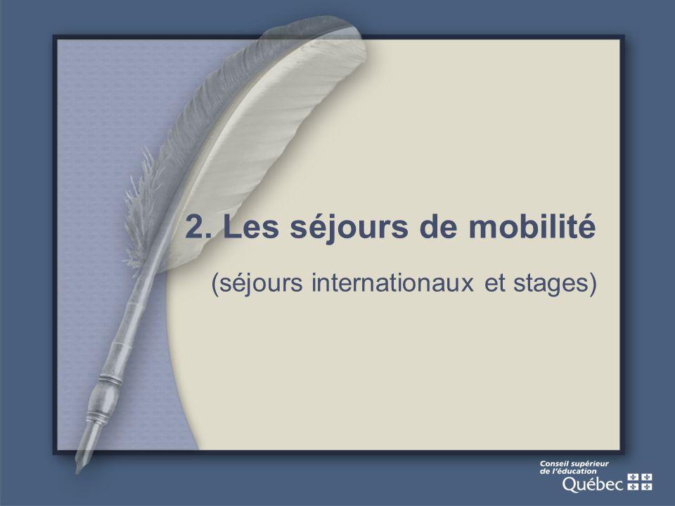 2. Les séjours de mobilité (séjours internationaux et stages)
