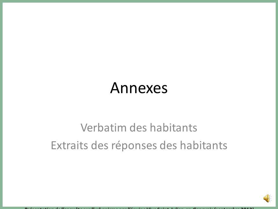 Présentation de lenquête sur lurbanisme par léquipe Vive Saint-Julien-en-Genevois (septembre 2013) Conclusion : St Julien a besoin de ses organes vita