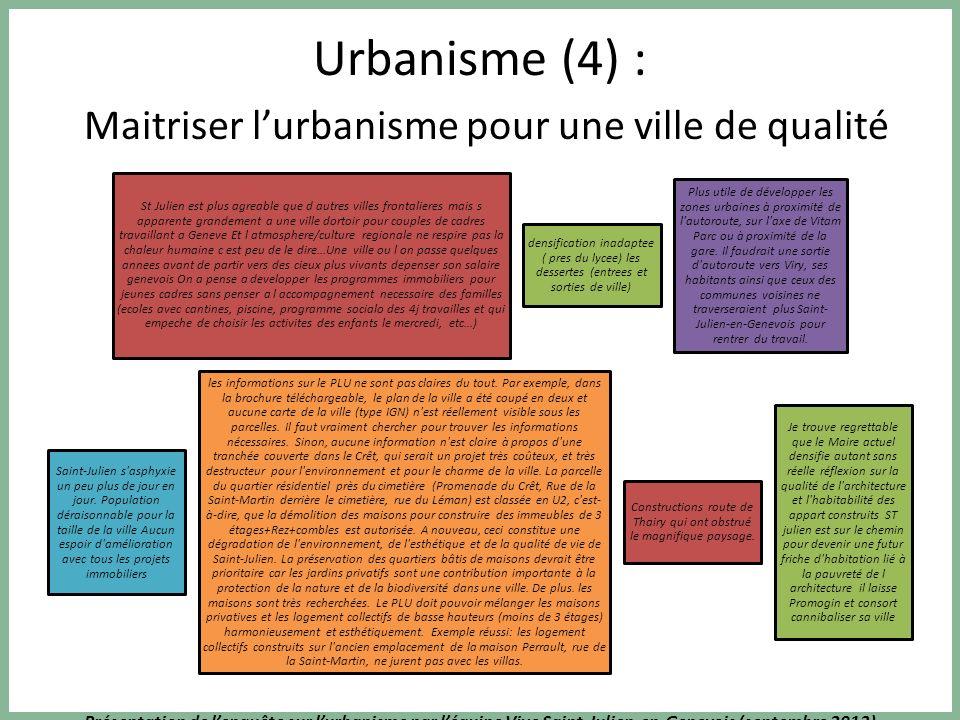 Présentation de lenquête sur lurbanisme par léquipe Vive Saint-Julien-en-Genevois (septembre 2013) Urbanisme (3) : Maitriser lurbanisme pour une ville