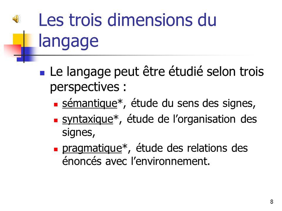 Un système de signes pour communiquer Si nous admettons, comme beaucoup déthologistes*, que le langage est un système de signes émis dans lintention de communiquer, nous devrons admettre que les animaux utilisent avec succès des langages.