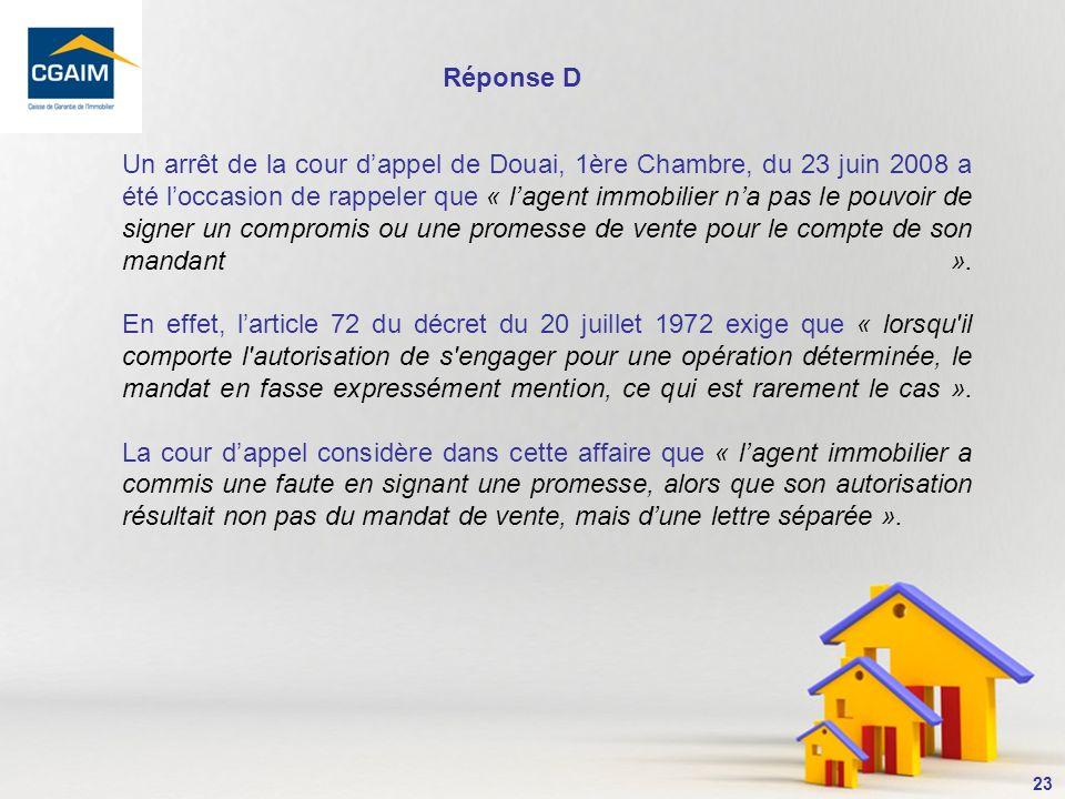 24 10- La vente de lappartement (bien propre de Madame) domicile du couple marié sous la séparation de biens doit : A.