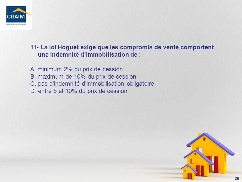 27 La loi Hoguet nexige pas le versement dune indemnité dimmobilisation (prix de lexclusivité consentie au bénéficiaire dune promesse).