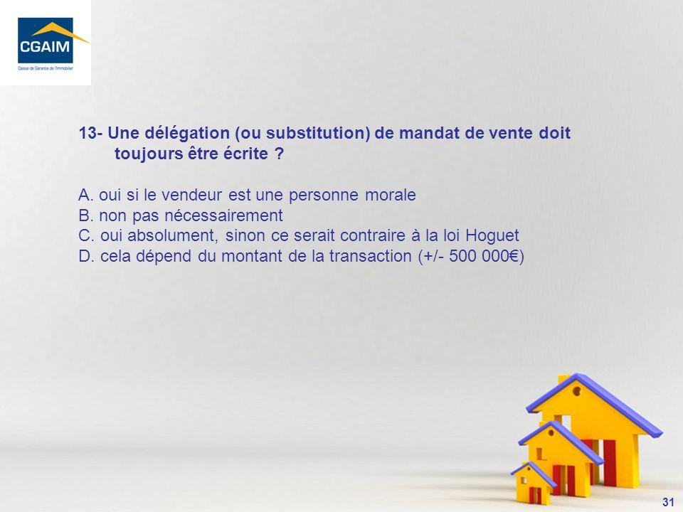 32 Le mandat donné à un agent immobilier, qui doit répondre aux règles de la loi du 2 janvier 1970, est un mandat qui a un caractère personnel interdisant au mandataire de se substituer un autre mandataire, en labsence de clause ly autorisant dans le mandat.