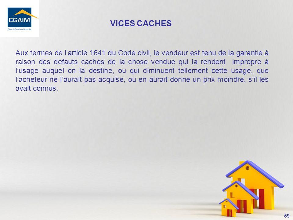 60 VICES CACHES Cest le motif de mise en cause de la RCP des agents immobiliers le plus fréquent.