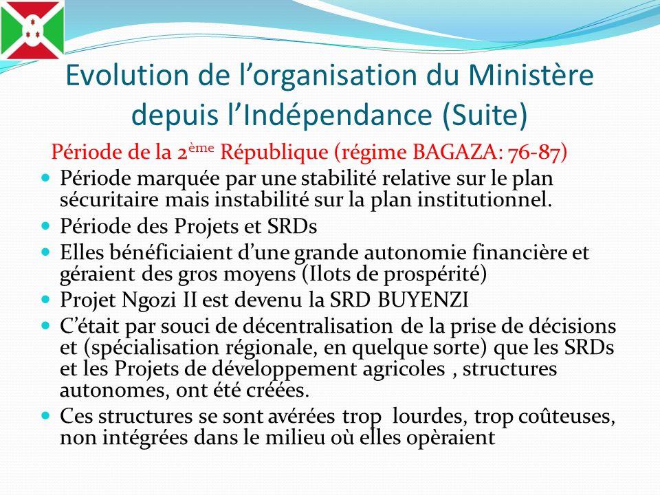 Evolution de lorganisation du Ministère depuis lIndépendance (Suite) Période de la 2 ème République (régime BAGAZA: 76-87) Période marquée par une sta