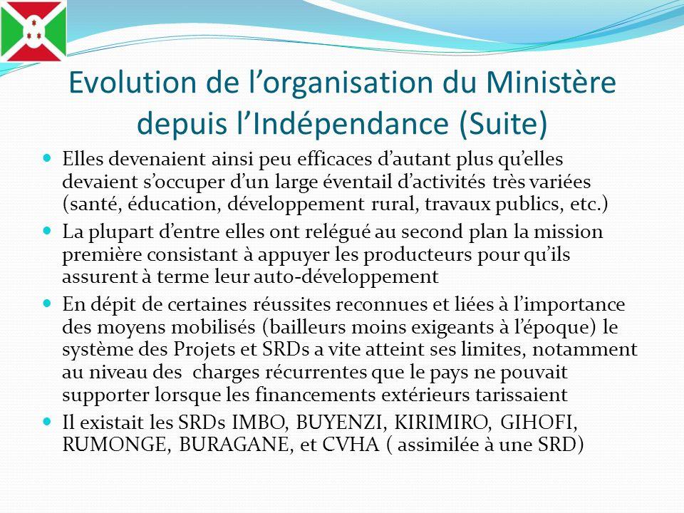 Evolution de lorganisation du Ministère depuis lIndépendance (Suite) Elles devenaient ainsi peu efficaces dautant plus quelles devaient soccuper dun l