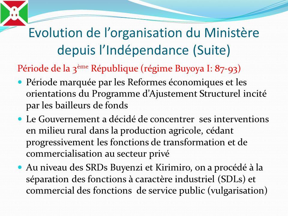 Evolution de lorganisation du Ministère depuis lIndépendance (Suite) Période de la 3 ème République (régime Buyoya I: 87-93) Période marquée par les R