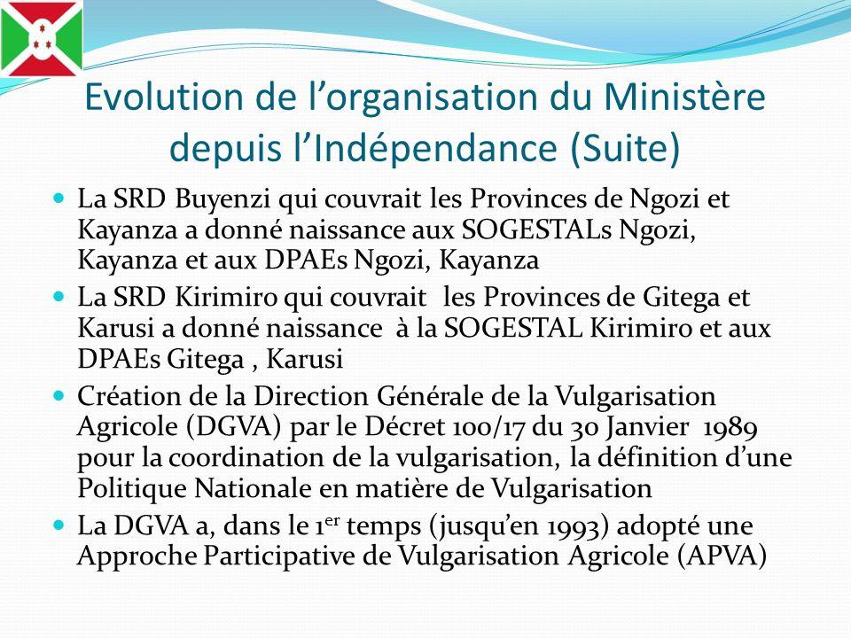 Evolution de lorganisation du Ministère depuis lIndépendance (Suite) La SRD Buyenzi qui couvrait les Provinces de Ngozi et Kayanza a donné naissance a