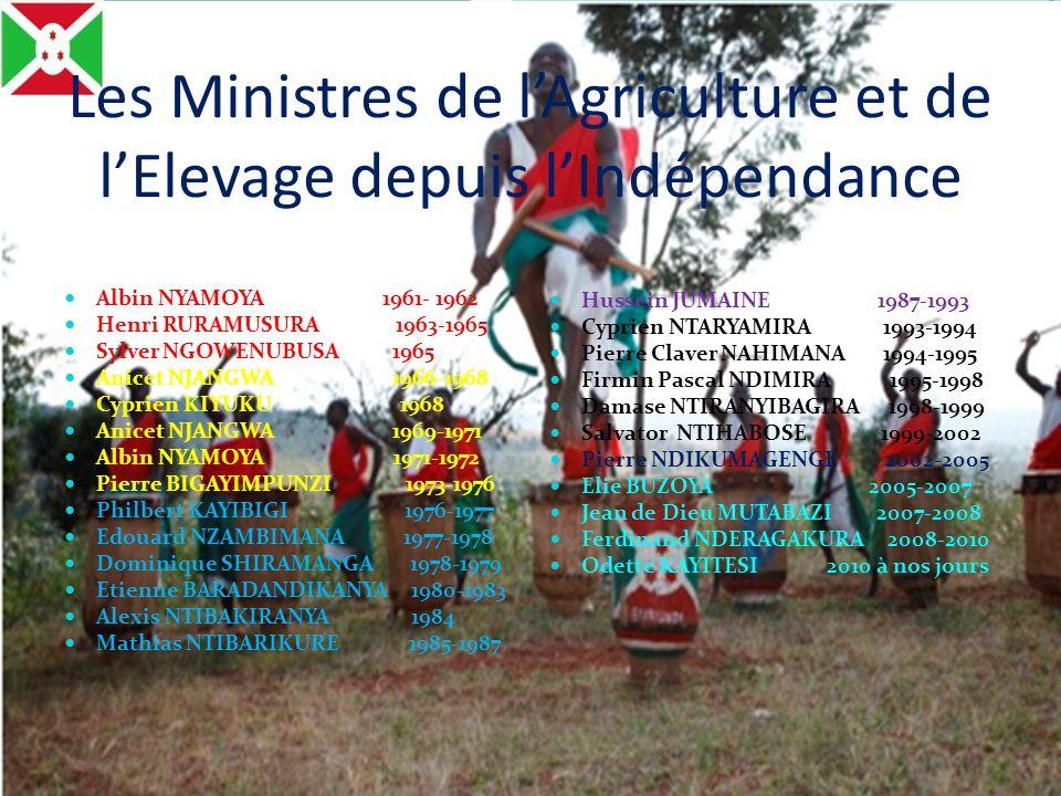 Les Ministres de lAgriculture et de lElevage depuis lIndépendance Albin NYAMOYA 1961- 1962 Henri RURAMUSURA 1963-1965 Sylver NGOWENUBUSA 1965 Anicet N