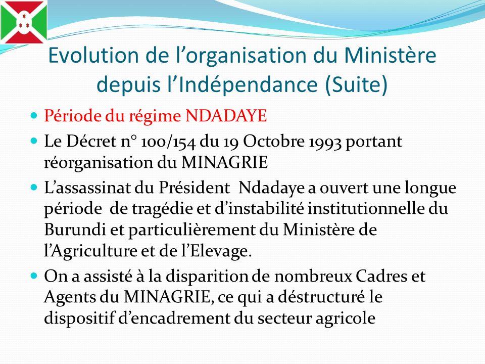 Evolution de lorganisation du Ministère depuis lIndépendance (Suite) Période du régime NDADAYE Le Décret n° 100/154 du 19 Octobre 1993 portant réorgan