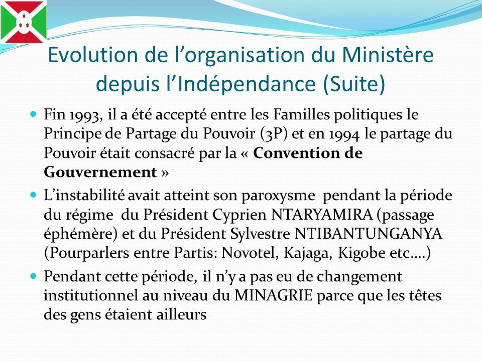 Evolution de lorganisation du Ministère depuis lIndépendance (Suite) Fin 1993, il a été accepté entre les Familles politiques le Principe de Partage d