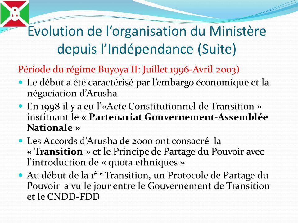 Evolution de lorganisation du Ministère depuis lIndépendance (Suite) Période du régime Buyoya II: Juillet 1996-Avril 2003) Le début a été caractérisé